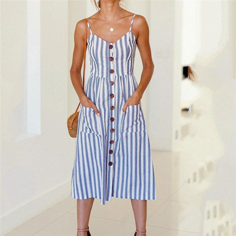 57e3d46b6dfc0 Striped Button Sexy Casual Summer Strap Dress Long Boho Beach Pockets Women  Sundress Vestidos Elegant Dress Femal #F#40SP26