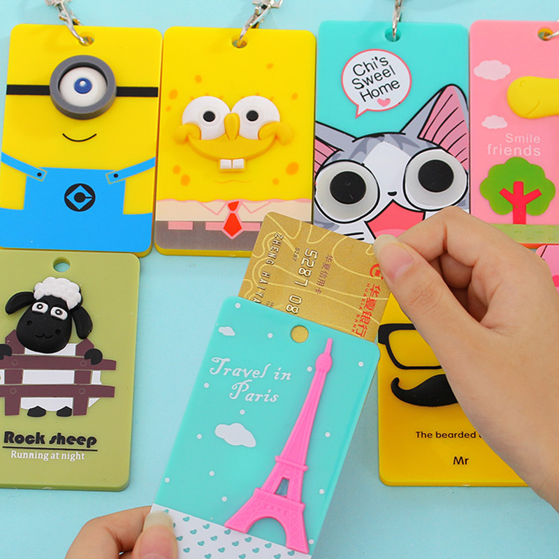 2019 PVC Card Holder Credit Card Bus Card Case Hot Sale Cute Cartoon Panda Duck Monster Design Key Holder Ring Bag Accessories