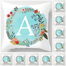 Fuwatacchi 2019 Pillow Cover White Letter In A Blue Background Wreath Flower Pillowcase Sofa Cushion Home Decor Hot Sale