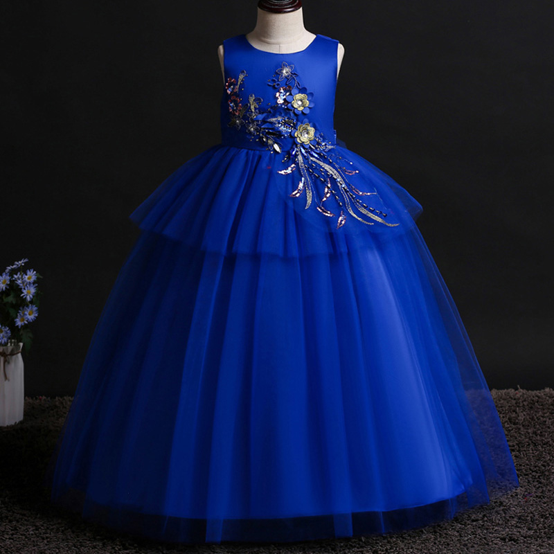 Kids Bridesmaid   Flower     Girls     Dress   For Party and Wedding   Dress   2019 Summer Children Elegant   Girl   Princess   Dress   Teenage Clothing