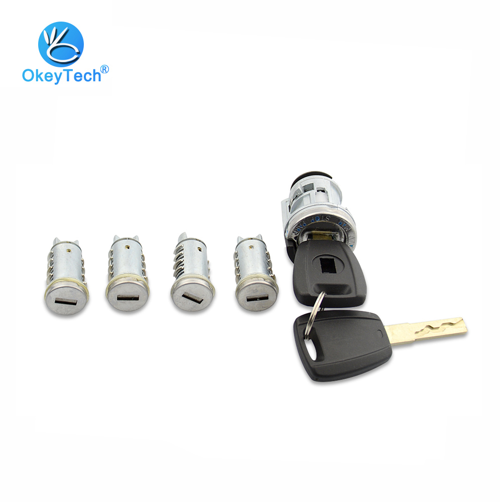 OkeyTech For Fiat Lock Set with 2 Key SIP22 Blade Lgnition Lock Milling Lock Car Modified Car Door Cylinder Car Key Trunk Lock free shipping remote key case laser blade with black colour with sip22 key blade for fiat 10 piece lot