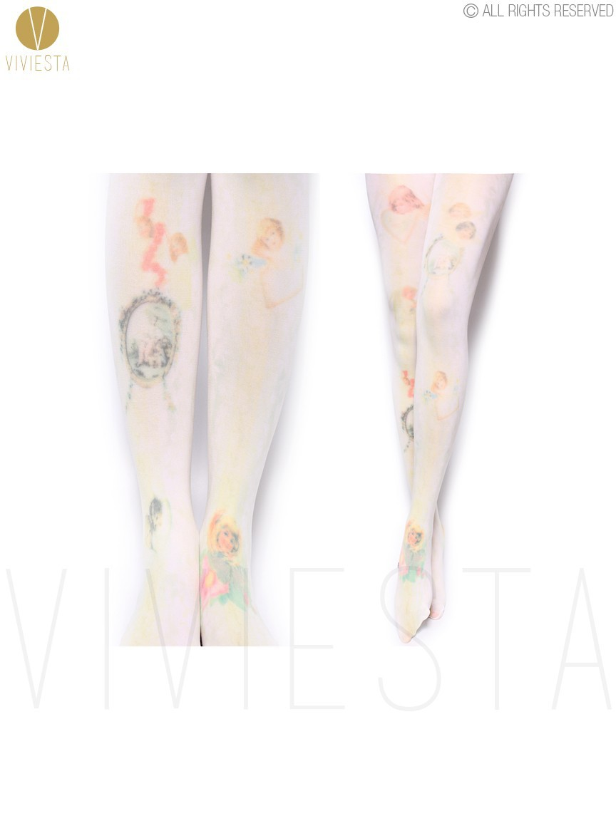 Angels Mirrors Oil Paintings Printed Opaque Tights 80d Women Cosplay