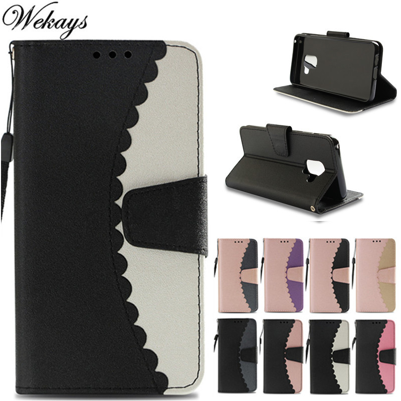 Wekays For Samsung A8 2018 Splice Color Leather Flip Fundas Case For Coque Samsung Galaxy A8 2018 A530 SM-A530F Cover Case Shell
