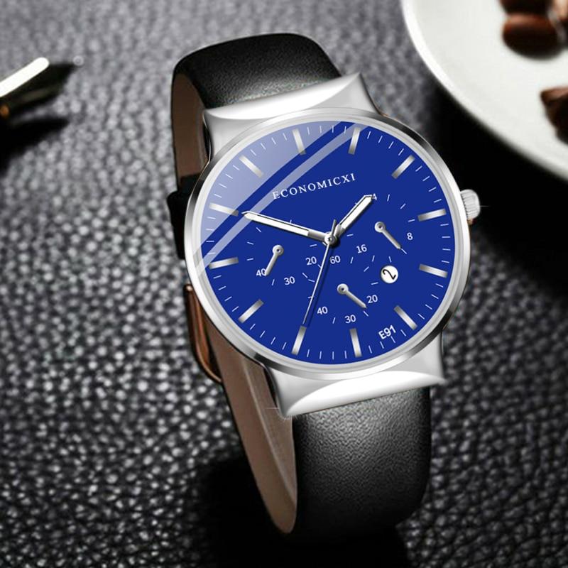 ECONOMICXI Mens Watch Retro Brand Quartz Casual Business Male Leather Strap WristWatch Clock Fashion Gift Relogio Masculino