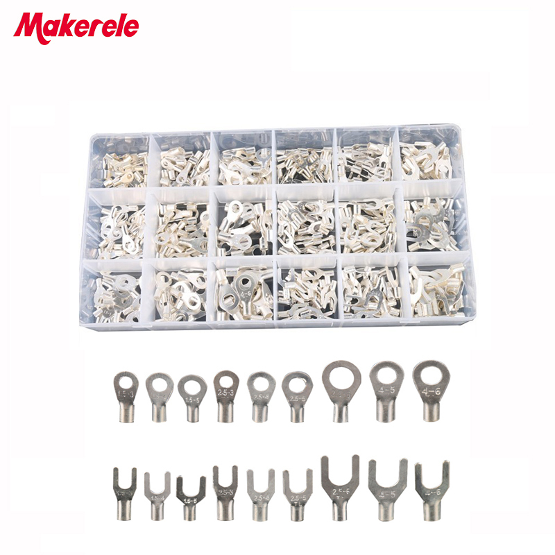 420Pcs/Box 18 type Cold naked terminal Non-Insulated Ring Fork U-type Terminals Assortment Kit Cable Wire Connector Crimp Spade rnb3 5 10 circular naked terminal type to cold pressed terminals cable connector wire connector 1000pcs pack