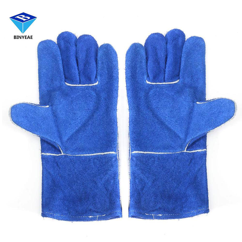 Leather work gloves for welding - Blue Woodburner Gloves Long Lined Welders Gauntlets Log Fire High Temp Stove Xl Workplace Safety Gloves Genuine Binyeae