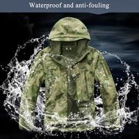 Winter Outdoor Waterproof Warm Camouflage Coat Tops Men Training Climbing Tactical Fleece Lining Thermal Hooded Jacket Clothing