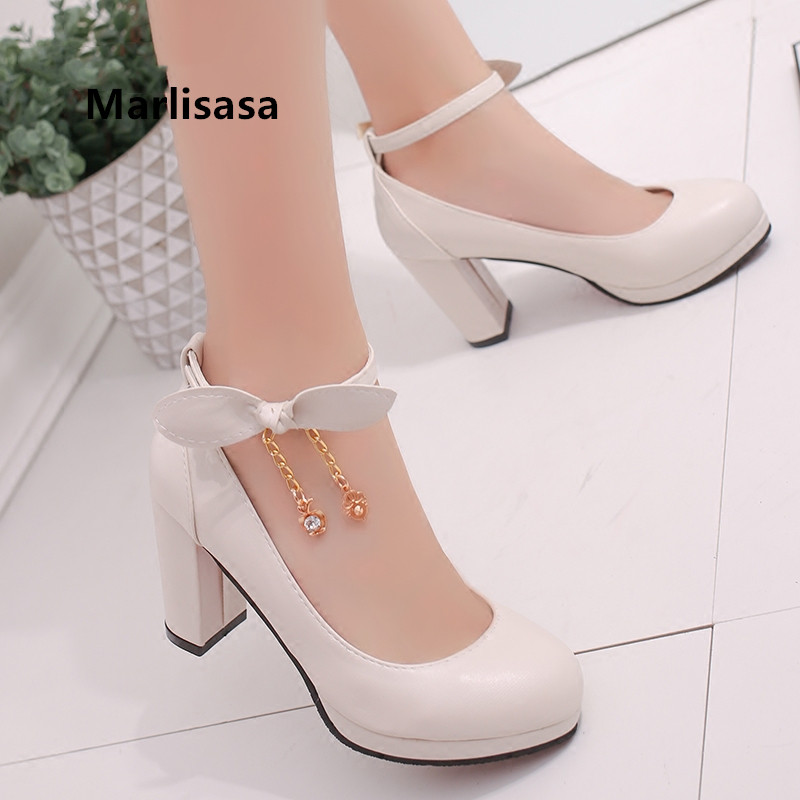 Women Classic High Quality Sexy Party Bow Tie High Heel Pumps Lady Fashion Sweet Buckle Strap Shoes Femmes Hauts Talons <font><b>G731</b></font> image