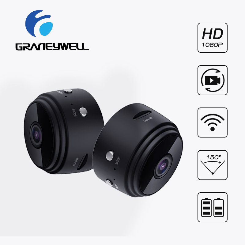 2 PCS Mini Camera WiFi Camera 1080P Indoor Camera Home Security Camera Charger Battery Night Vision