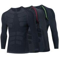 2018 브랜드 원활한 긴 소매 남성 스포츠 피트니스 스타킹 티셔츠 훈련 속옷 압축 블랙 체육