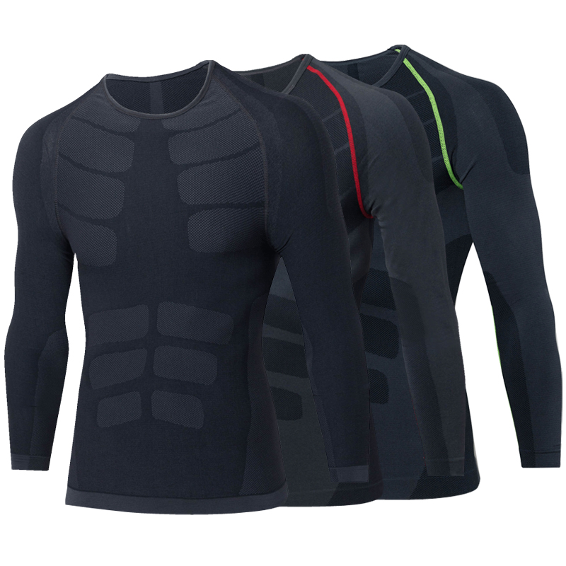 2018 Značka Seamless Long Sleeves Pánské sportovní oblečení Fitness Tights Tričko Trénink Spodní prádlo Compression Black Gym Shirt