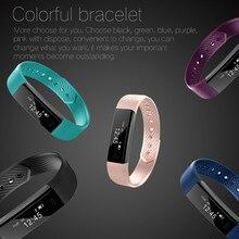บลูทูธสมาร์ทสายรัดข้อมือสี่เหลี่ยมผืนผ้า 0.86 นิ้ว OLED touch screen fitness tracker armband สำหรับ Pedometer Sleep Track
