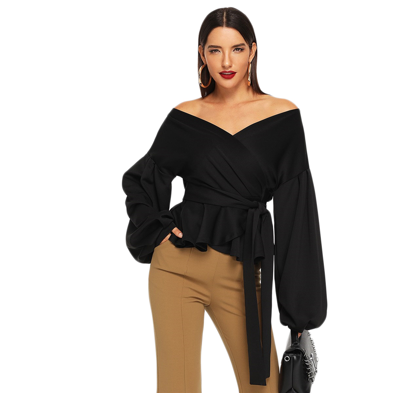 SHEIN White Office Lady Elegant Lantern Sleeve Surplice Peplum Off the Shoulder Solid Blouse Autumn Sexy Women Tops And Blouses 30