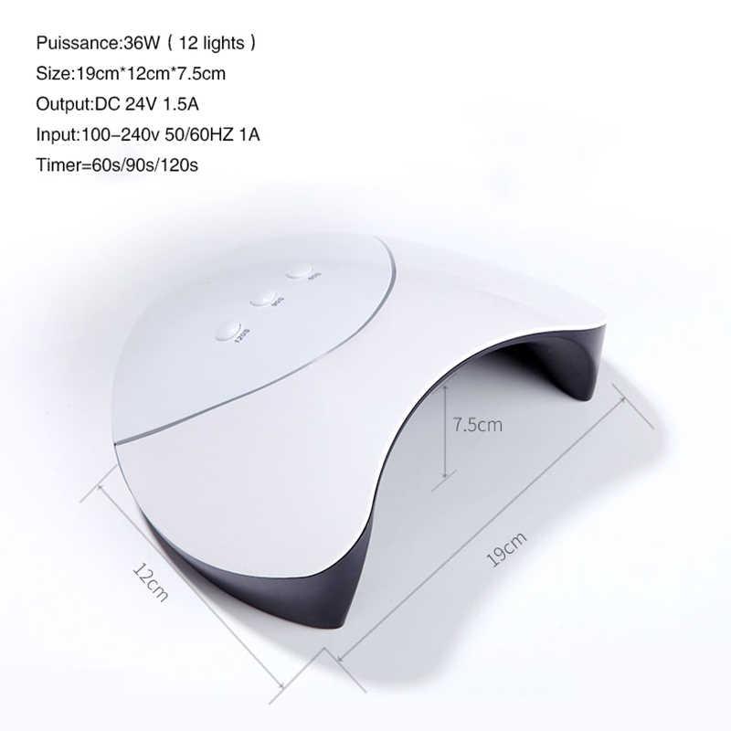 Nowy 36 W lampa uv do paznokci 12 diod led suszarka do paznokci do wszystkich rodzajów żel polski Manicure automatyczny czujnik USB złącze do paznokci narzędzie