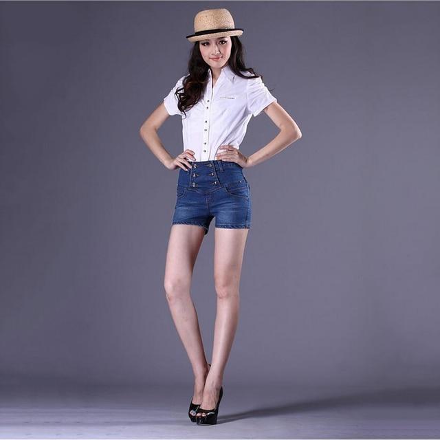 European style cotton boyfriend jeans women cowboy denim shorts fashion plus size S-4XL double-breasted impire ladies shorrs G5