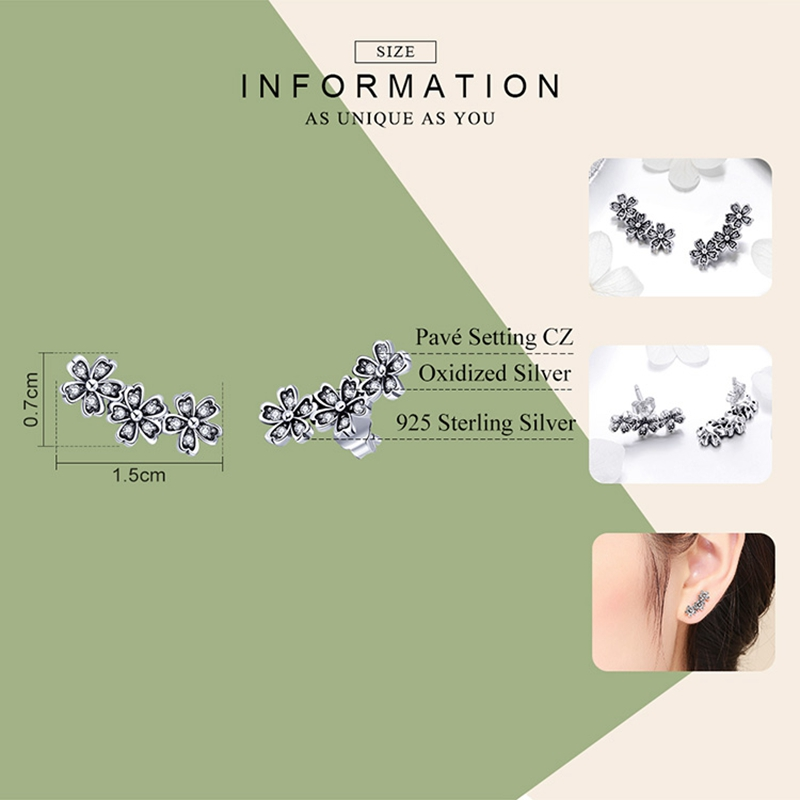 WOSTU Authentic 925 Sterling Silver Stackable Daisy Floral Stud Earrings Clear CZ Flower Woman Earring Party Jewelry Gift CQE419 2