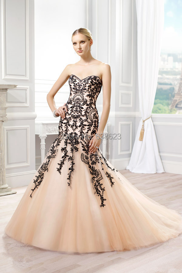 Daw2574 Free Shipping Mermaid Alibaba Dubai Champagne Black Wedding