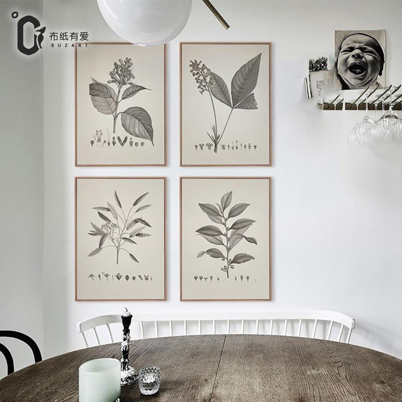 Botanische prints vintage plant boerderij home decor retro poster muur foto's voor woonkamer kunst canvas schilderij Geen frame