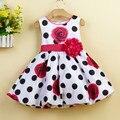 Девочки Платье Black Dot Младенческая Летнее Платье Девочка Вечернее Платье Печати Большой Цветочные Платья L1232xz