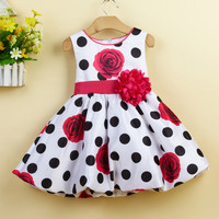 New Arrive Baby Girl Flower Dress With Black Dot Pattern Baby Girl Party Dress Print Big