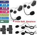 Free Shipping!2 Set Motorcycle Helmet Bluetooth 1000M Intercom Headset NFC + Earpiece + Clip