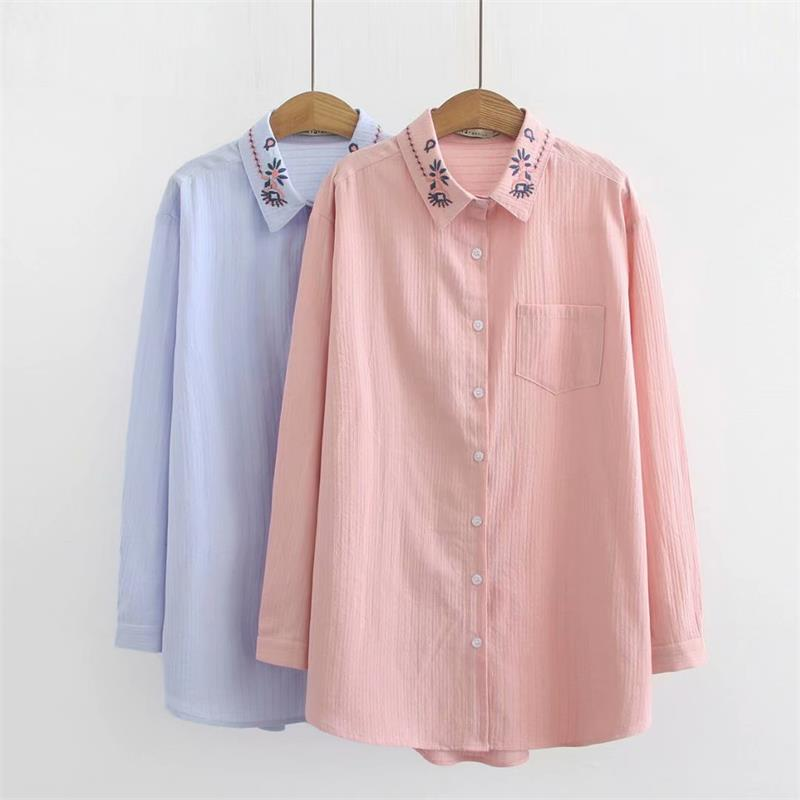 Women's Clothing Provided Plus Size Embroidery Flower Collar Women Cotton Blouse 2019 Spring New Casual Ladies Pink Shirts Female Sky Blue Loose Shir