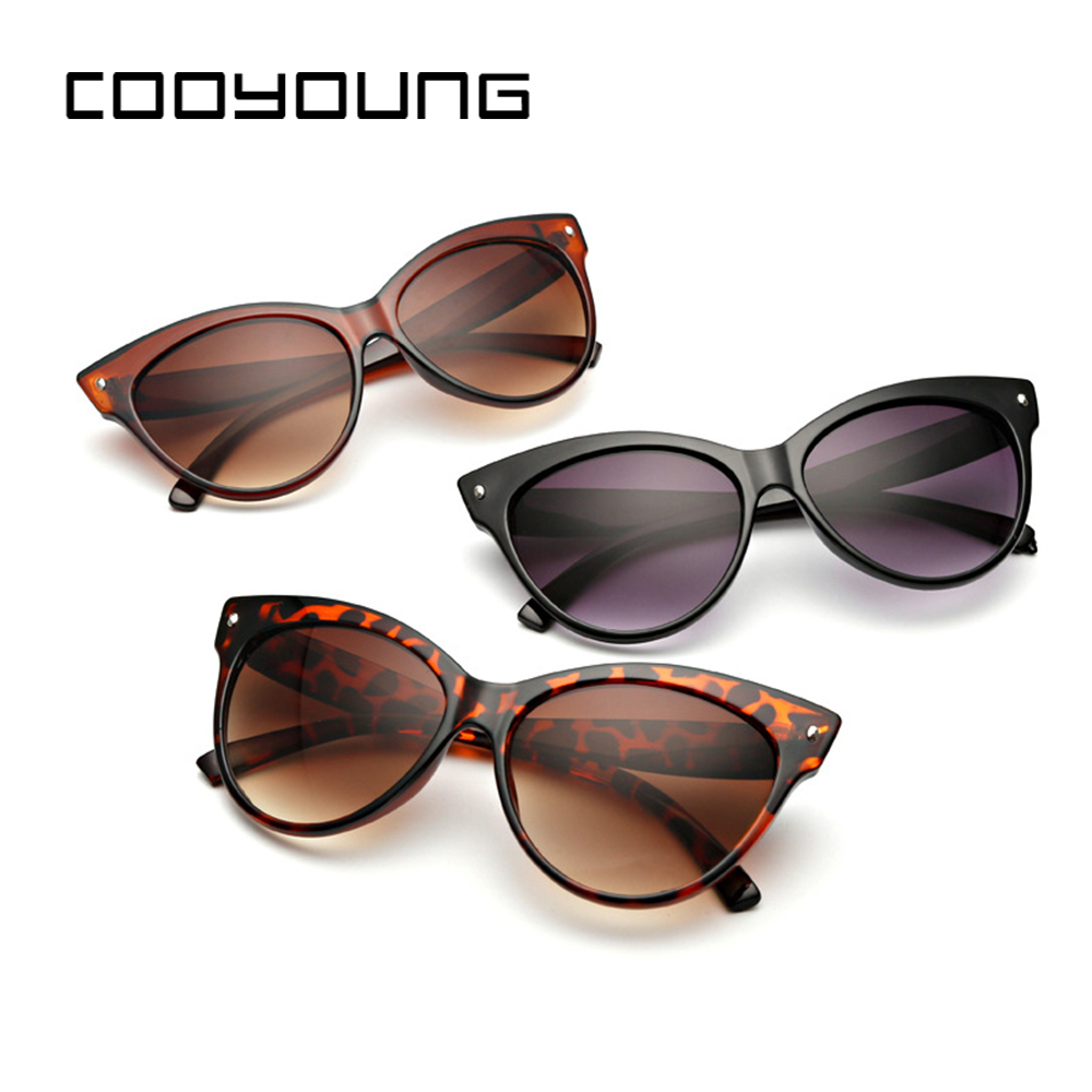 COOYOUNG NEW Women Cat Eye Sunglasses Fashion Sexy UV400 Sun Glasses Gradient Lens Plastic Female Eyewear Wholesale Sunglasses