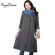 2017 Autumn New Fashion Trench Dot Coat Hight Quality Knitted Gray Blue Red Long Sleeves Single Breasted with Pockets Warm Tops(China)