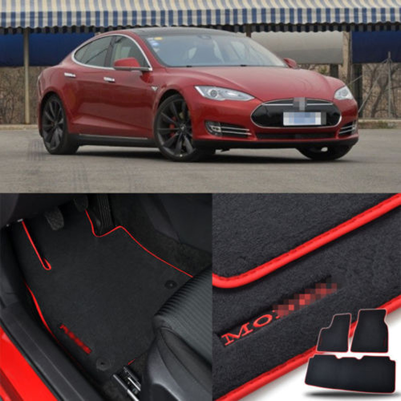 """Custom Made 1/2"""" Thickness Solid Nylon Interior Odorless Floor Carpet Mats Cover Fitted For Tesla Model S 85/P85 14-18"""