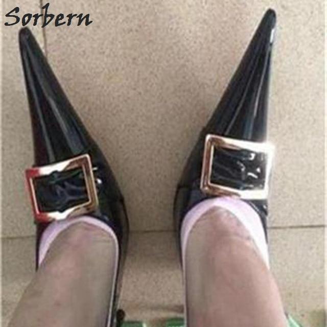 Sorbern 2018 Long Pointed Toe Women Pumps Metal Steel Heel Nightclub Catwalk Black Patent Leather 16CM Heels Shoes Fashion