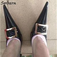 Sorbern 2018 Long Pointed Toe Women Pumps Metal Steel Heel Nightclub Catwalk Black Patent Leather 16CM Heels Shoes Fashion