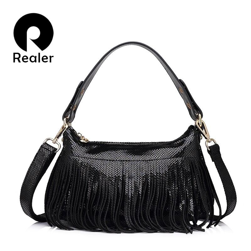 REALER brand fashion women genuine leather bag women serpentine shoulder bag fem
