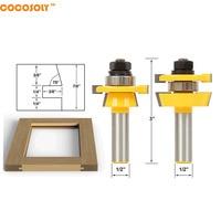 Cocosoly 2pcs Set 1 2 Shank Rail Stile Router Bit Set Shaker Woodwork Cutter Tools
