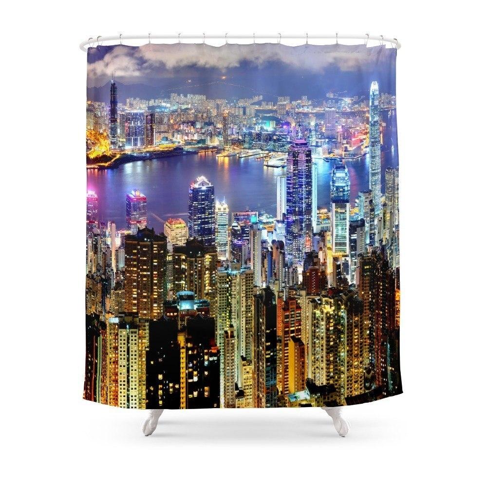 Hong Kong City Skyline Shower Curtain Custom Curtain For