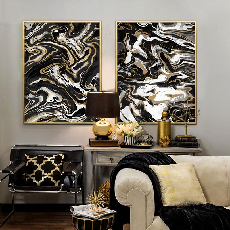 Gold Leinwand-kaufen Billiggold Leinwand Partien Aus China Gold ... Wohnzimmer Schwarz Gold