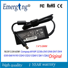 7.4*5.0mm Original For HP COMPAQ 18.5V 3.5A 65W AC Adapter Charger Power Supply G6 G56 G62 G70 G72 DV5 DV6 DV7 N193 CQ60 CQ61