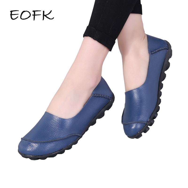 EOFK 2019 Women Genuine Leather Flat Shoes Woman Causal Shoes Soft Comfortable Slip On Flats Loafers Women Casual Shoes Female