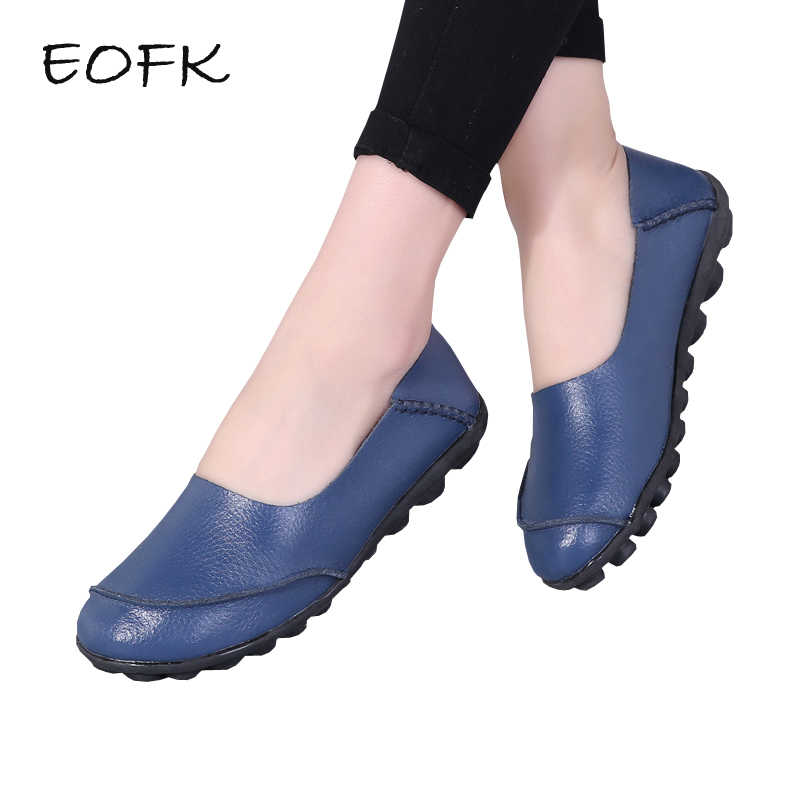 EOFK 2019 Women Genuine Leather Flat Shoes Woman Causal Shoes Soft Comfortable  Slip On Flats Loafers 1008f244025d