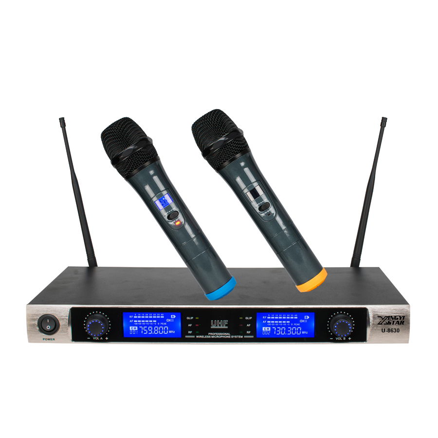 Professional UHF Microphone Wireless Karaoke System Dual Handheld Cordless Mic LED Display Receiver For KTV Stage Singing Mike