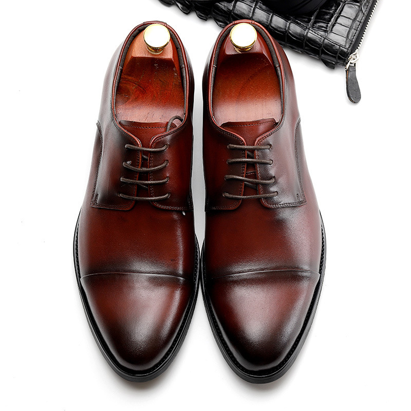 QYFCIOUFU 2019 Luxury Men 39 s Dress Shoes Fashion Lace up Business Casual Genuine Leather Shoes Men Formal Wedding Flat Shoes in Formal Shoes from Shoes