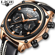 LIGE Mens Watches Military Army Chronograph Watch Top Brand Luxury Sports Casual Waterproof Male Watch Quartz Mn Wristwatch+Box benyar mens watches military army brand luxury sports casual waterproof male watch quartz stainless steel man wristwatch xfcs