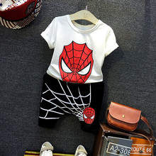 Wear 2016 Spider Man Summer Clothes Suit For Boys Cartoon Children Clothes + Pants Suit