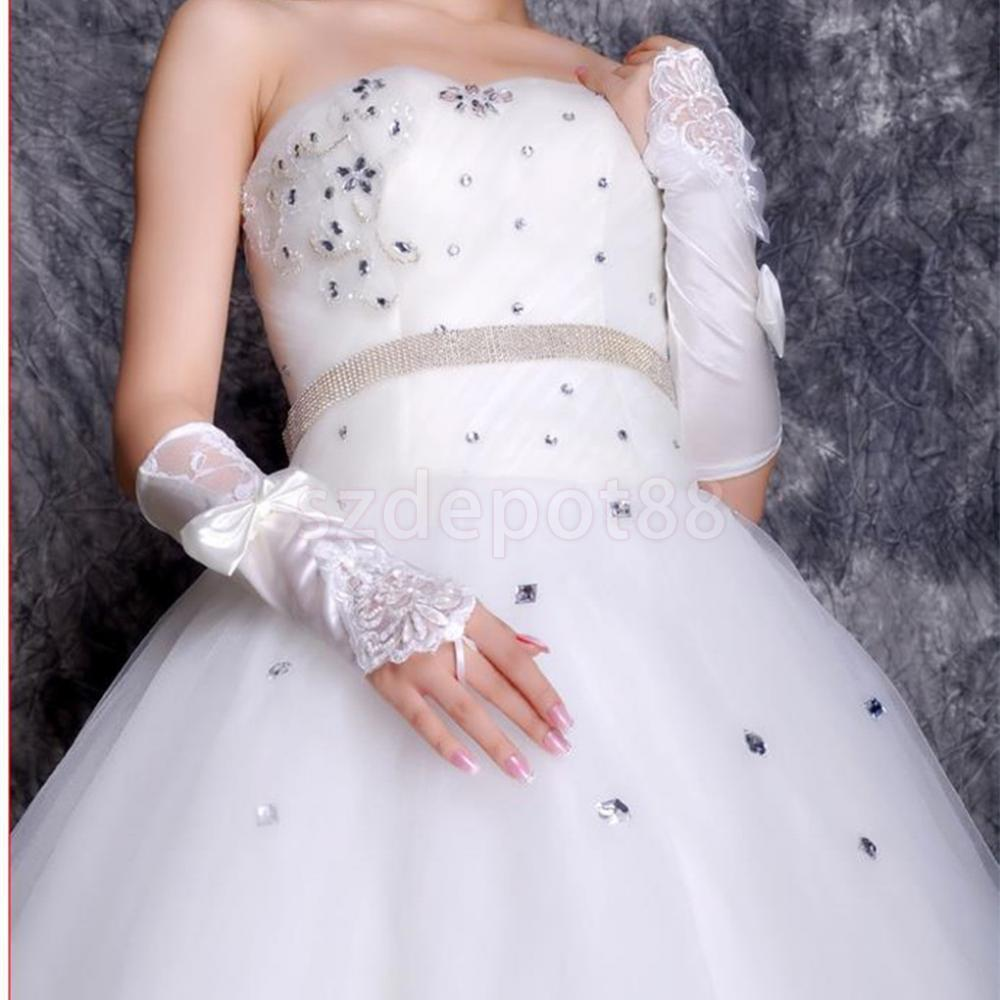 Fingerless gloves for sun protection - Lace Bowknot Bridal Gloves Wedding Prom Party Costume Long Gloves Fingerless Sun Protection Accessories China