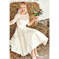 Novo Estilo Vintage Jewel Neck Tea Comprimento Do Casamento Do Laço Curto Vestidos de Noiva vestidos Custom Made Tamanho 4 6 8 10 12 14 16 + W279