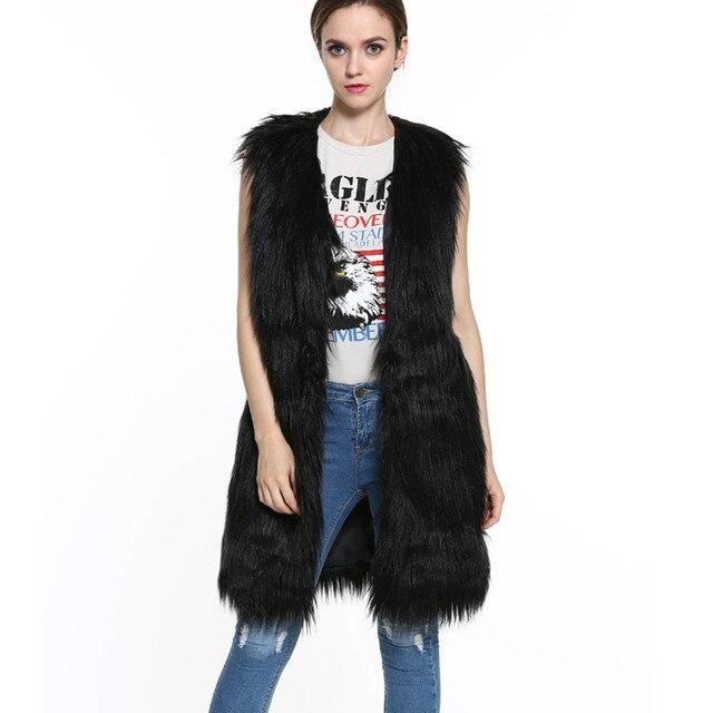 2016 Black Faux Fur Long Vest Waistcoat Autumn Winter Sleeveless Outerwear Women Coats Soft Hairy Overcoat Herringbone Vest