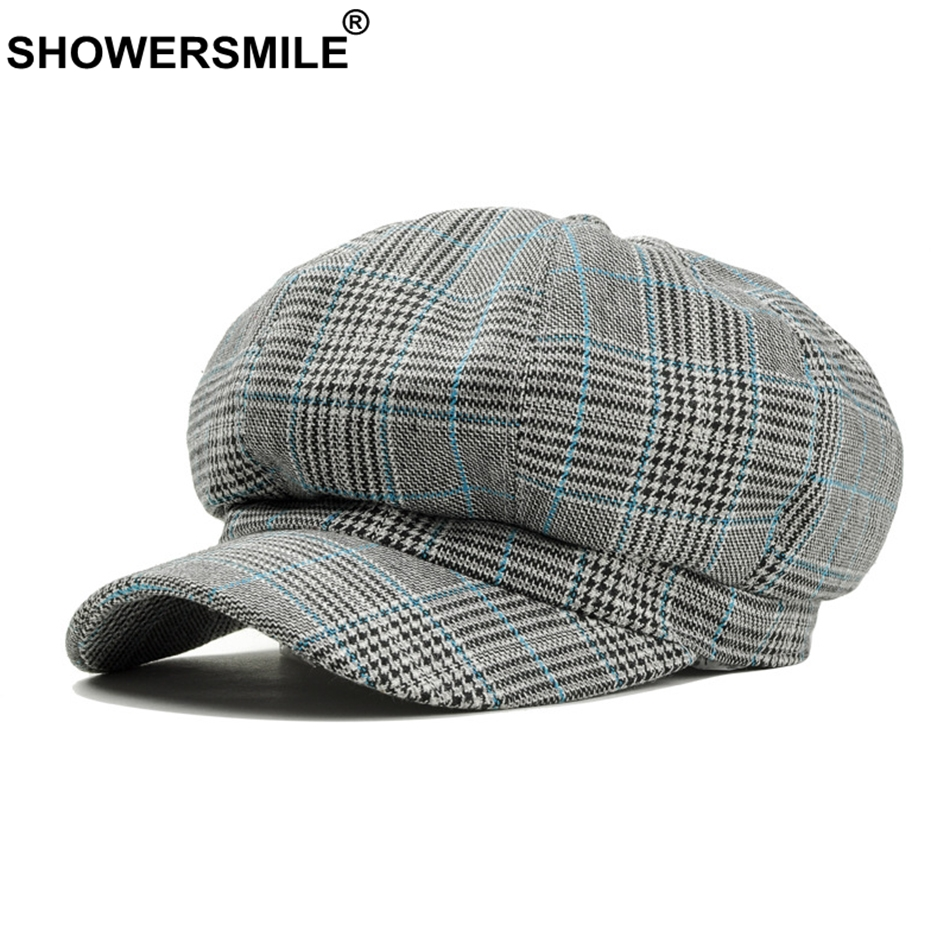 SHOWERSMILE cuadros vendedor Gatsby Cap para las mujeres de algodón azul octogonal  sombrero periódico casuales de 5caa170c262