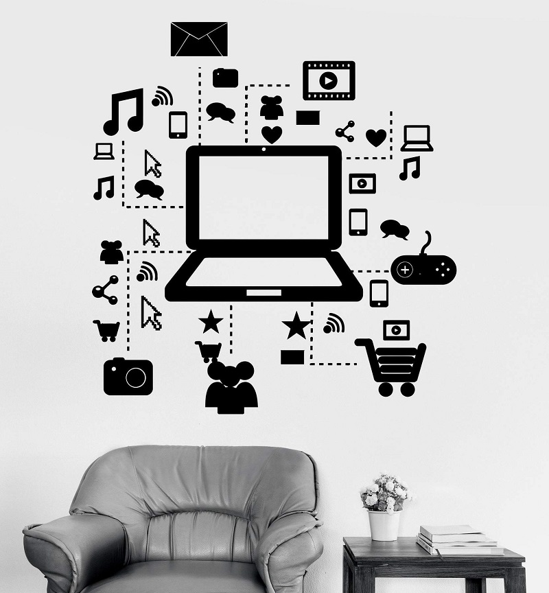 Wall Decal Game Laptop Internet Information Shopping Game Vinyl Sticker, Game Hall Home Living Room Bedroom Decor  YX13