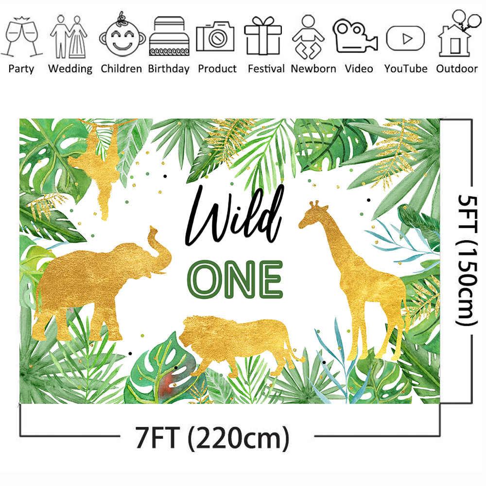 Mehofoto vahşi bir doğum günü zemin orman hayvanları parti fotoğraf arka plan altın Safari tropikal yapraklar arka planında çocuk doğum günü