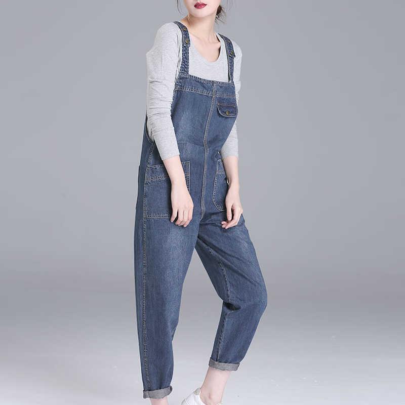 Новые женские летние туфли на Размеры Для женщин Повседневное свободные джинсовые комбинезоны, Дамская обувь, однотонные женские ботинки Цвета, свободные джинсы с дырками на коленях с широкими штанинами брюки с карманами для женщин N850