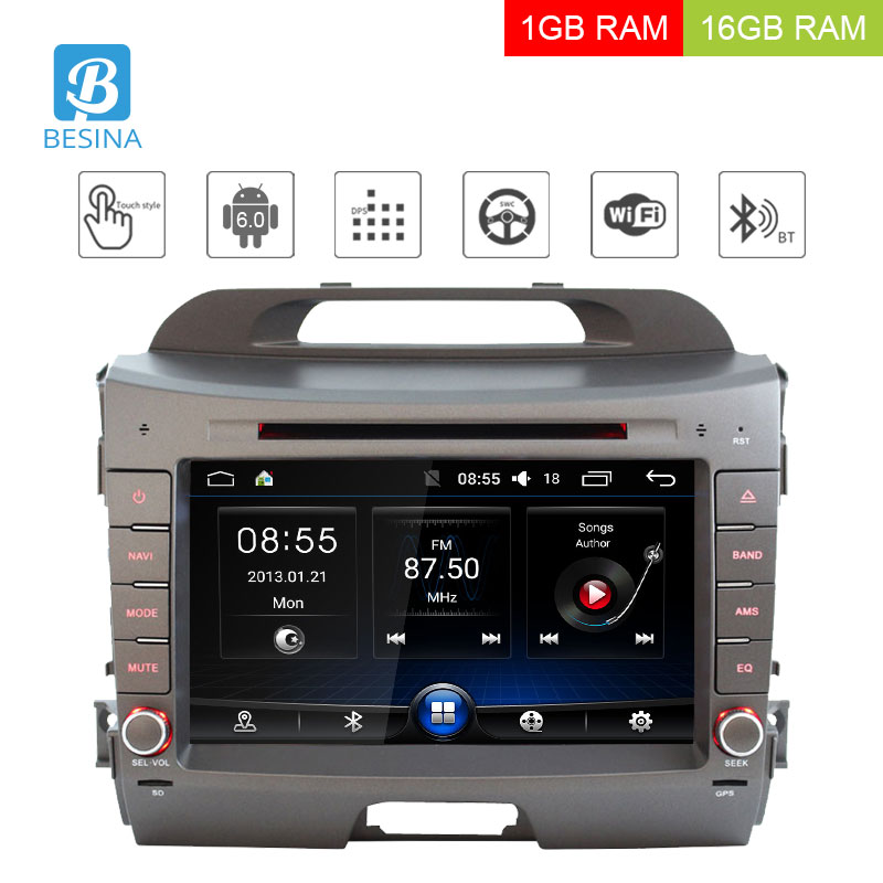Besina 2 Din Android 6.0 Car Multimedia DVD Player For KIA Sportage 2010 2011 2012 2013 2014 2015 WIFI Radio GPS NavigationAudio